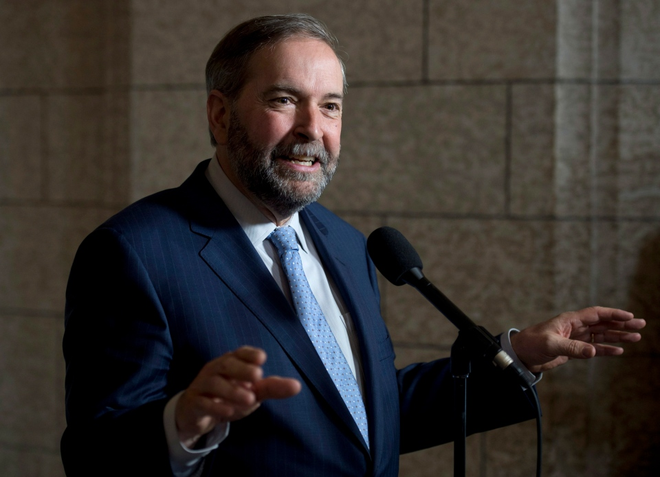 NDP Leader Tom Mulcair speaks with reporters following party caucus on Parliament Hill in Ottawa, Wednesday, May 6, 2015. (Adrian Wyld / THE CANADIAN PRESS)