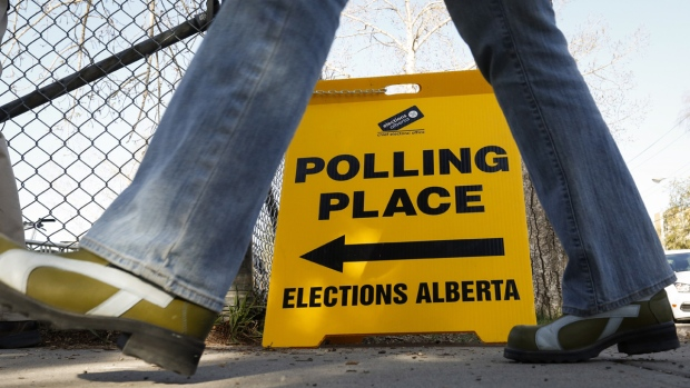 A voter enters a polling station in Alberta