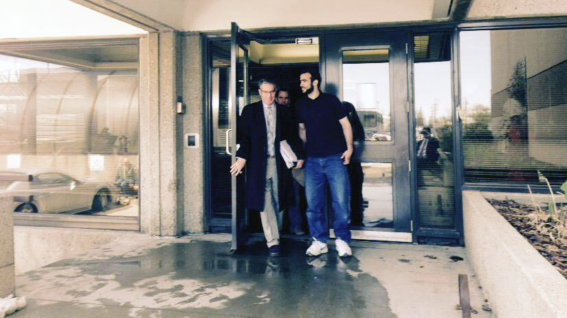 Omar Khadr leaves an Edmonton police station Thursday, May 7, 2015.