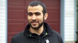Omar Khadr speaks outside his lawyer Dennis Edney's home in Edmonton on Thursday, May 7, 2015.