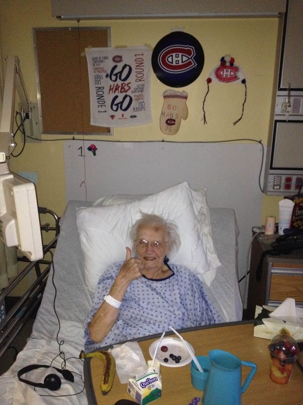Kelsey Arseneault of Chateauguay sent in this photo of her 94 year old grandmother, Jean McEwen of Ormstown, who is currently in hospital, and as you can see she is a big hockey fan. She has her Habs stuff for all the nurses and doctors to see. So loves all the Habs, but she especially loves Subban :)