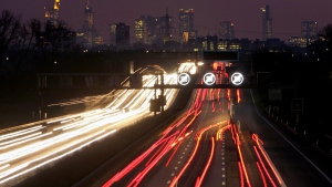 Traffic is seen on a highway in Frankfurt, Germany, on Dec. 12, 2006. (AP / Michael Probst)