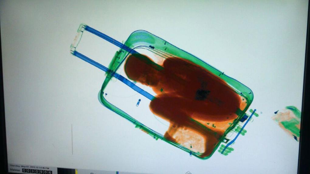 Boy inside a suitcase in Ceuta, Spain