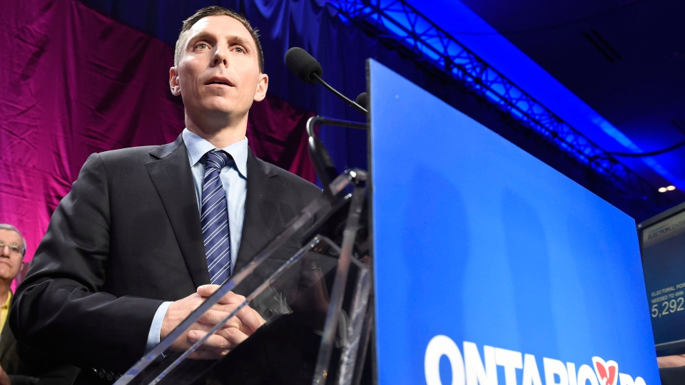 Ontario Progressive Conservative party leader Patrick Brown speaks after winning the PC party leadership in Toronto on Saturday, May 9, 2015. (Frank Gunn / THE CANADIAN PRESS)