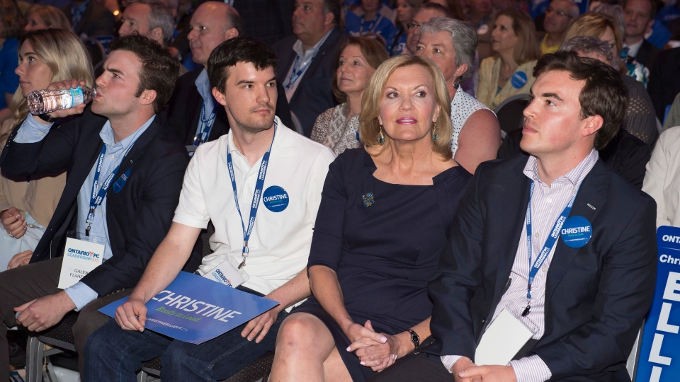 Ontario Progressive Conservative party leadership candidate Christine Elliott looks on as riding results are announced during the PC party leadership vote in Toronto on Saturday, May 9, 2015. (Frank Gunn / THE CANADIAN PRESS)