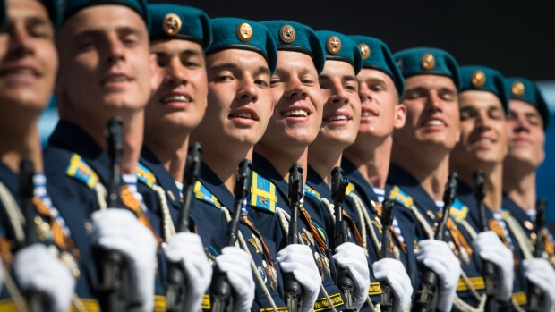 Russian soldiers march during the Victory Parade marking the 70th anniversary of the defeat of the Nazis in World War II, in Red Square in Moscow, Russia, Saturday, May 9, 2015. (AP / Alexander Zemlianichenko Jr.)