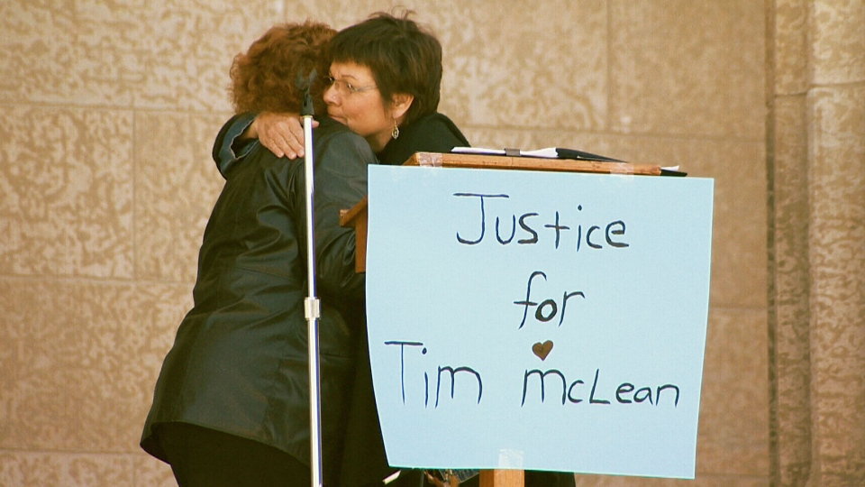The mother of Tim McLean, who was beheaded on a Greyhound bus in 2008, made an emotional plea at a rally on Saturday against increased freedoms for the man who killed her son.