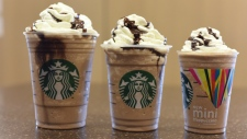 This photo provided by Starbucks shows the Mini Frappuccino. Starbucks says it will start selling Frappuccinos in a miniature size starting Monday, May 11, 2015. (Anna Carson / Starbucks)