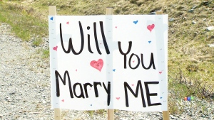 "A Nova Scotia woman was ""shocked"" when her fiancé surprised her by proposing through a series of signs posted along a highway on Mother's Day."