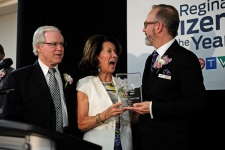 Paul and Carol Hill receive the 2014 CTV Regina Citizen of the Year Award at a gathering in the city on Tuesday, May 12, 2015.