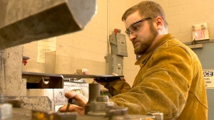 Joe Miller is seen welding at Nova Scotia Community College, in Stellarton, N.S., in May 2015.