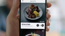 A screengrab shows the UberEATS app. (Uber / YouTube)