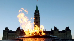 The Centre Block of the Parliament Buildings is shown through the Centennial Flame on Parliament Hill in Ottawa on Sunday, January 25, 2015. (Fred Chartrand / THE CANADIAN PRESS)