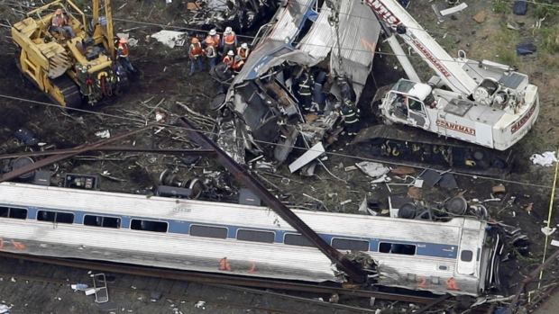 Emergency personnel work at the scene of a deadly train wreck in Philadelphia on May 13, 2015. (AP / Patrick Semansky)