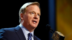 FILE - In this Thursday, April 30, 2015 file photo, NFL commissioner Roger Goodell speaks during the first round of the 2015 NFL Football Draft in Chicago. (AP Photo/Charles Rex Arbogast, File)