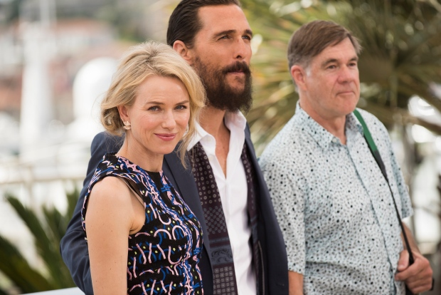 From left, actors Naomi Watts, Matthew McConaughey and director Gus Van Sant pose for photographers during a photo call for the film The Sea of Trees, at the 68th international film festival, Cannes, southern France on May 16, 2015. (Arthur Mola / Invision/ AP)