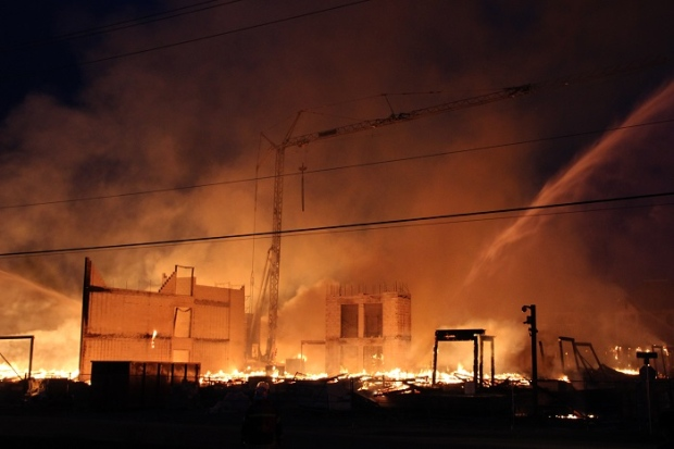 An apartment complex that was under construction went up in flames in Langley, B.C. on Sunday May 17, 2015.