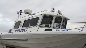 The South Simcoe Police marine unit can be seen in Innisfil, Ont. on April 11, 2015. (Geoff Bruce/ CTV Barrie)