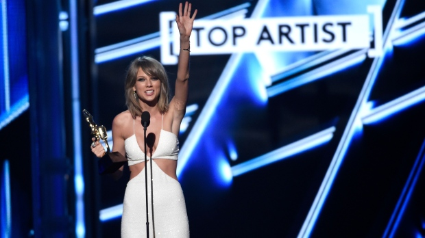 Taylor Swift accepts the award for top artist at the Billboard Music Awards at the MGM Grand Garden Arena in Las Vegas on Sunday, May 17, 2015. (Chris Pizzello / Invision)