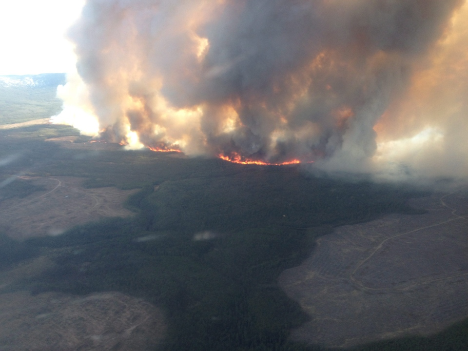 The Little Bobtail Lake fire, 50 kilometres southwest of Prince George, B.C., is shown on May 10, 2015. (British Columbia Wildfire Management Branch / The Canadian Press)