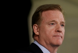 NFL Commissioner Roger Goodell speaks to reporters during the NFL's spring meetings in San Francisco on May 20, 2015. (Jeff Chiu / AP Photo)