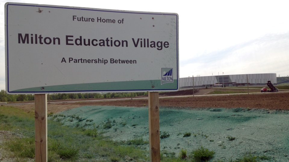 A sign overlooks the land where Wilfrid Laurier University and the Town of Milton hope to build a post-secondary campus. (Matt Harris / CTV Kitchener)