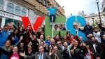 Members of the Yes Equality campaign gather in the center of Dublin, Ireland, Thursday May 21, 2015. (AP / Peter Morrison)