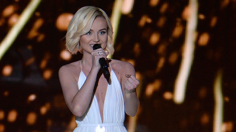 Polina Gagarina representing Russia performs the song 'A Million Voices' during a dress rehearsal for the final of the Eurovision Song Contest in Austria's capital Vienna, Friday, May 22, 2015. (AP / Kerstin Joensson)