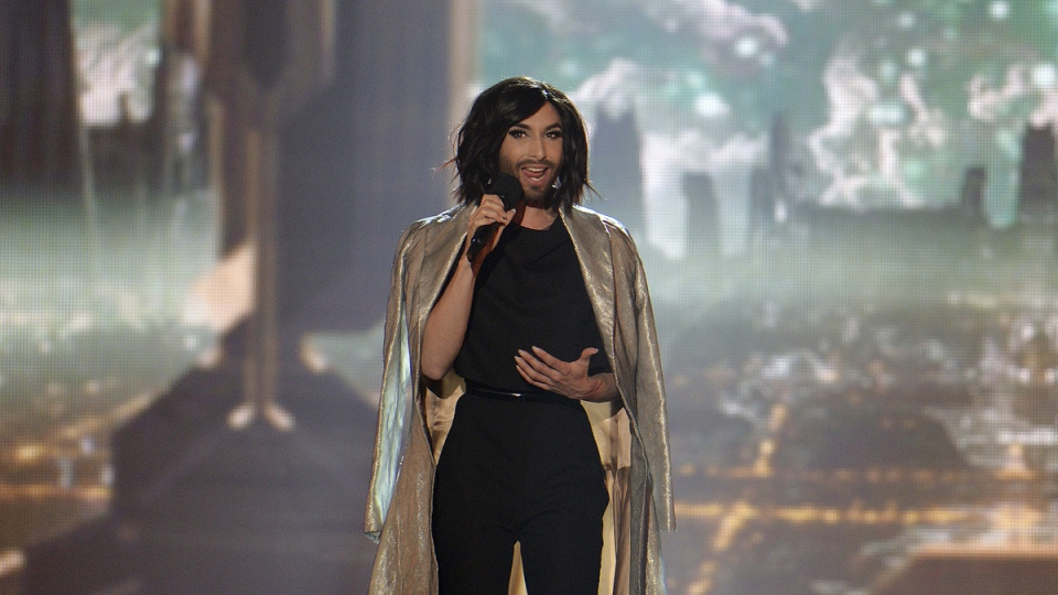Conchita Wurst, who won the 2014 ESC for Austria, performs on stage during a dress rehearsal for the final of the Eurovision Song Contest in Austria's capital Vienna, Friday, May 22, 2015. (AP / Kerstin Joensson)