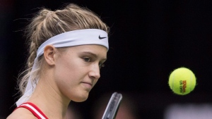 Canada's Eugenie Bouchard reacts during her Fed Cup tennis match against Romania's Andreea Mitu in Montreal, Sunday, April 19, 2015. (Graham Hughes / THE CANADIAN PRESS)