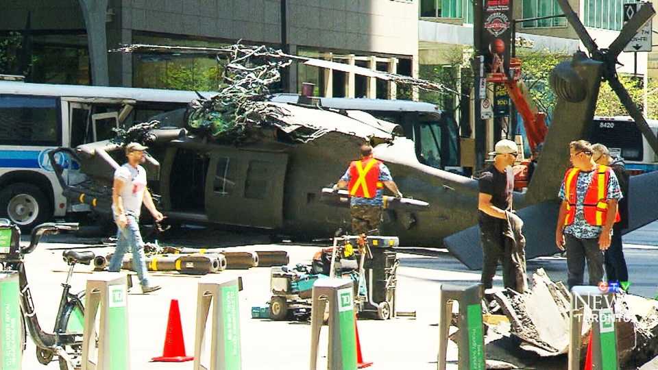 This photo shows the scene at Bay St. and Wellington St. where the Hollywood blockbuster