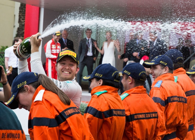 Mercedes driver Nico Rosberg of Germany sprays champagne after winning the Formula One Grand Prix of Monaco at the Monaco racetrack, in Monaco, Sunday, May 24, 2015. (AP / Gero Breloer)