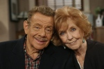 "Jerry Stiller, left, and his wife Anne Meara pose on the set of ""The King of Queens,"" at Sony Studio in Culver City, Calif., Nov. 6, 2003. (Stefano Paltera / AP Photo)"