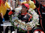 Juan Pablo Montoya, of Colombia, celebrates after winning the 99th running of the Indianapolis 500 auto race at Indianapolis Motor Speedway on Sunday, May 24, 2015. (AP / Darron Cummings)