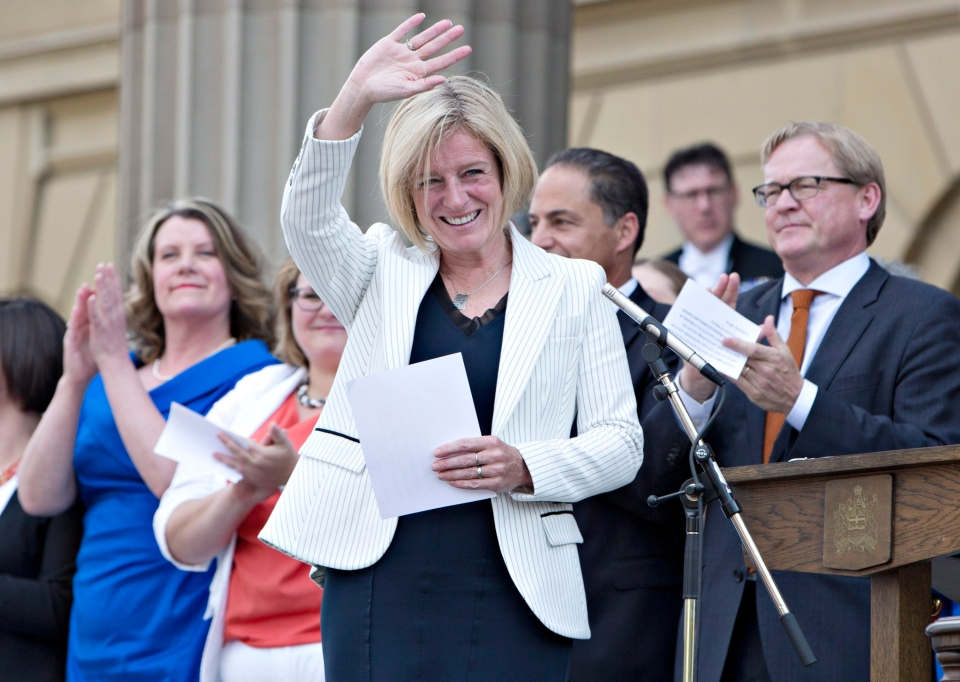 Rachel Notley is sworn in as Alberta's 17th premier in Edmonton on Sunday, May 24, 2015. (Jason Franson / THE CANADIAN PRESS)