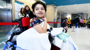 A patient arrives at Montreal's new children hospital on May 24, 2015.