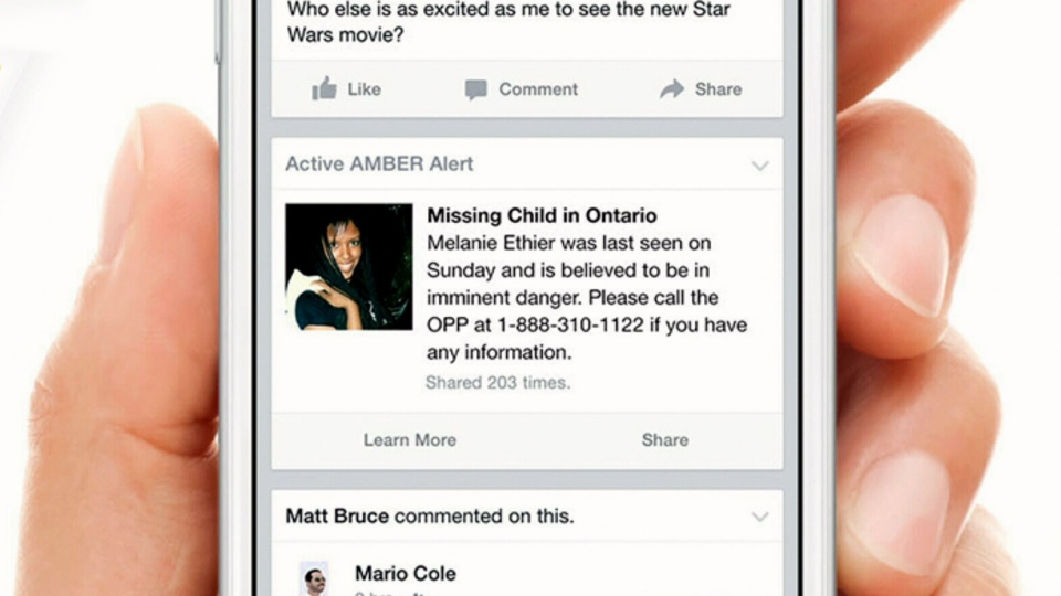 Facebook Amber Alert warning