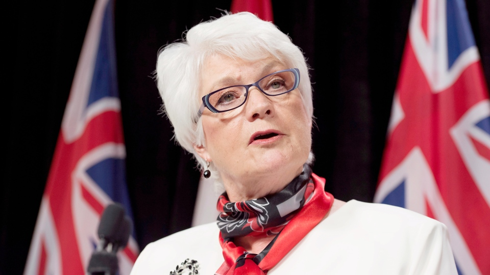 Ontario Education Minister Liz Sandals speaks at a press conference in Toronto on Monday, May 25, 2015. (Frank Gunn / THE CANADIAN PRESS)