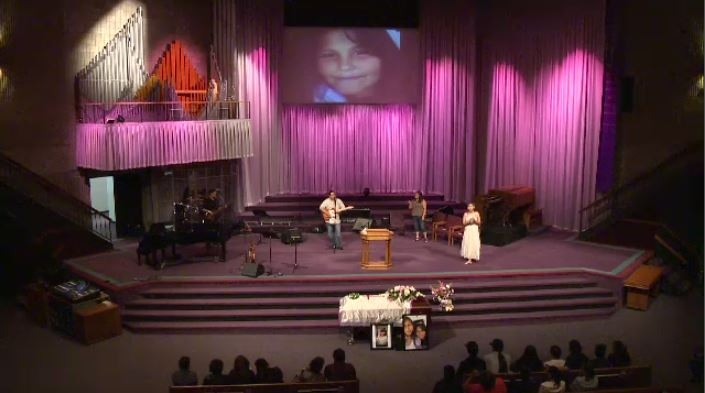 A memorial service for 11-year-old Teresa Robinson was held at Calvary Temple Monday evening.