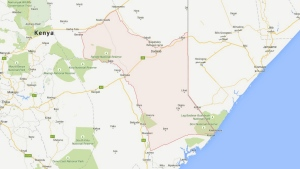 The Kenyan county of Garissa is shown in this Google map. Kenyan police say several police were killed in ambushes on Tuesday. (Google)