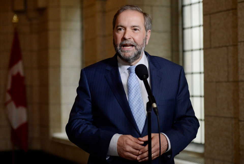 NDP Leader Thomas Mulcair scrums with the media following their caucus meeting in Ottawa, Wednesday, May 27, 2015. (Adrian Wyld / THE CANADIAN PRESS)