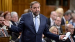 NDP Leader Tom Mulcair asks a question during Question Period in the House of Commons in Ottawa on Wednesday, May 27, 2015. (Adrian Wyld / The Canadian Press)