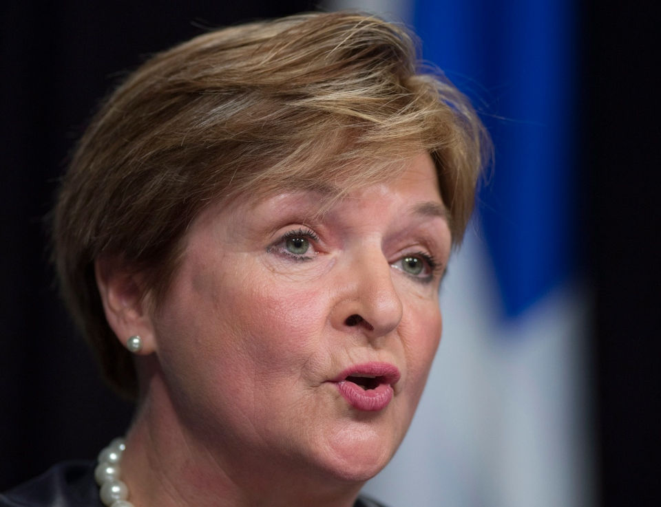 Quebec Auditor General Guylaine Leclerc at a news conference to table her first report on May 27, 2015 at the legislature in Quebec City. (Jacques Boissinot / The Canadian Press)