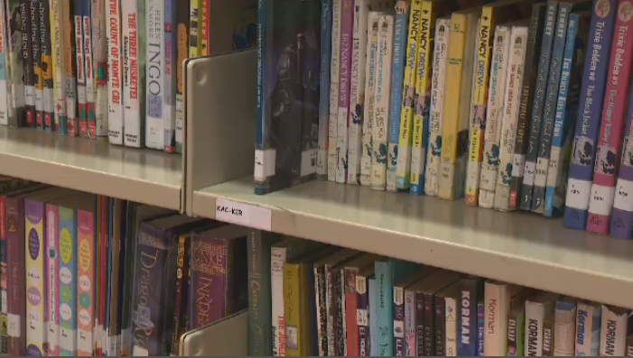 Books on a shelf at Allion Elementary School in LaSalle. The Lester B. Pearson School Board has laid off 18 of its librarians.