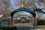 This Dec. 2004 file photo shows, the entrance to pop star Michael Jackson's Neverland Ranch in Santa Ynez, Calif. (AP / Mark J. Terrill)