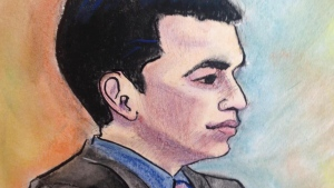 A sketch of Matthew de Grood in a Calgary court, Friday, May 29, 2015. (Sharon Sargent)