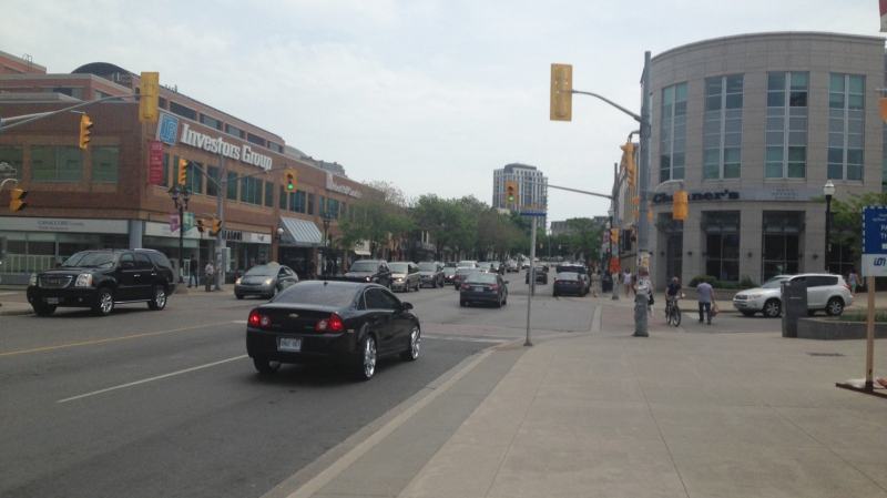 Traffic moves along King Street in uptown Waterloo on Friday, May 29, 2015. (David Imrie / CTV Kitchener)