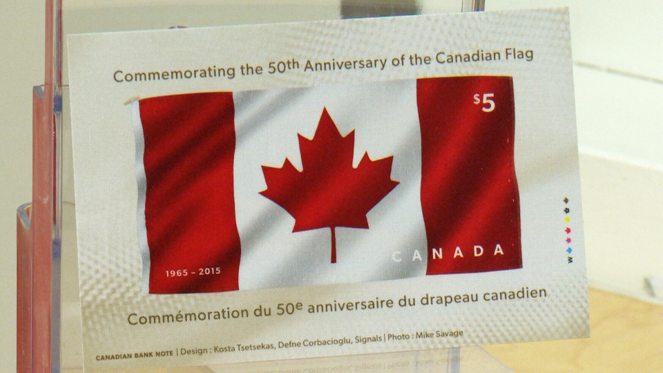 A new stamp made from fabric that was unveiled in St. Jacobs, Ont., on Friday, May 29, 2015.