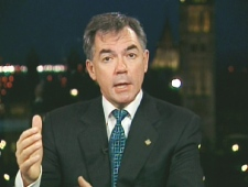 Environment Minster Jim Prentice speaks on Canada AM from CTV's studios in Ottawa on Friday, Oct. 31, 2008.