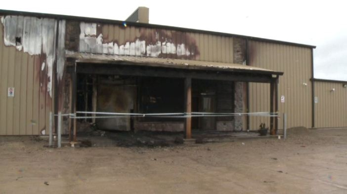 Fire damage to Triggers and Bows in Burford is shown on May 31, 2015.